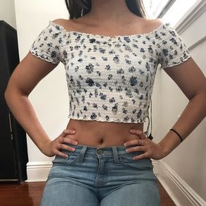 UO ruched white tiny flower crop top